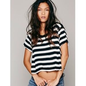 Free People | Keeping It Real Stripe Crop Tee - S